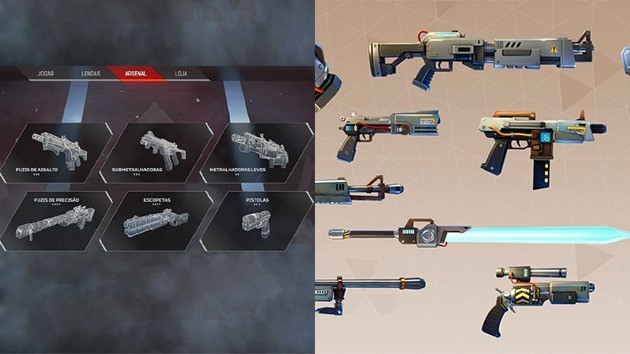 Armas - Apex Legends vs Fortnite