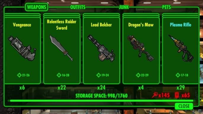 Armas de Fallout Shelter