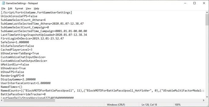Arquivo configurações - Fortnite