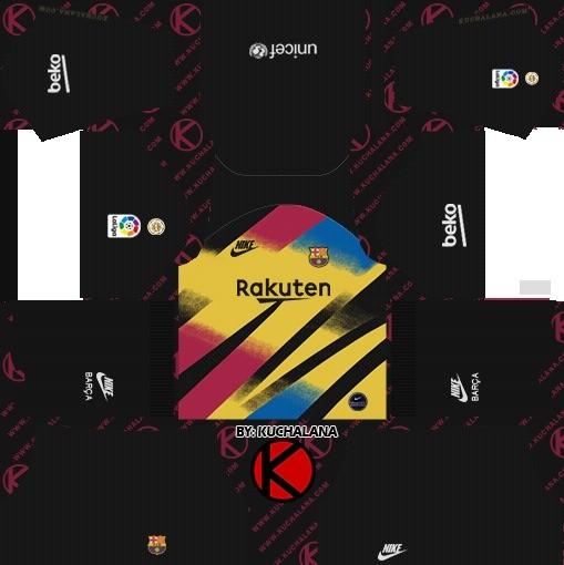 Barcelona terceiro kit uniforme goleiro dls