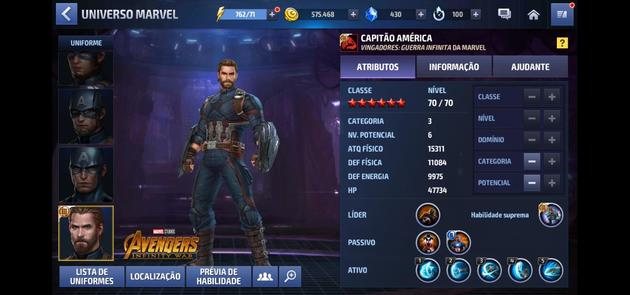 Marvel Future Fight - Capitão América Categoria 3