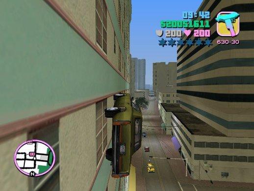 Carros andam pelas paredes GTA Vice City mod