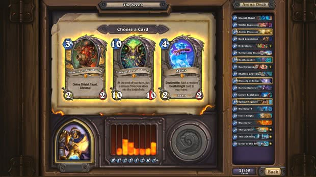 Hearthstone Area: escolher cards