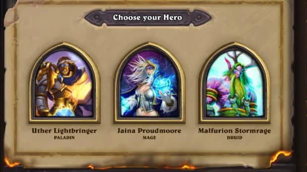 Hearthstone: escolher herói