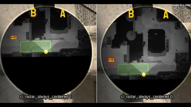 cl_radar_always_centered 0 CS: GO