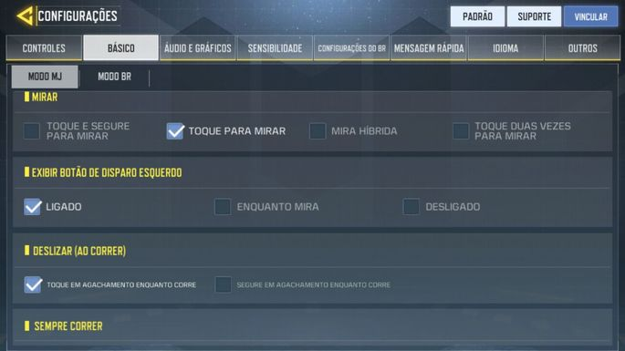 Configurações Básicas - Call of Duty Mobile