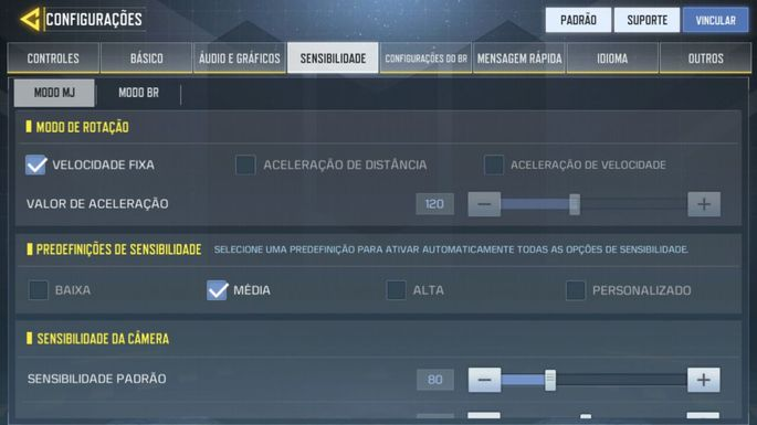 Configurações Sensibilidade - Call of Duty Mobile
