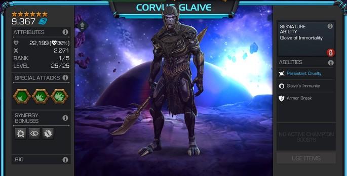 Corvus Glaive Marvel Torneio de Campeões