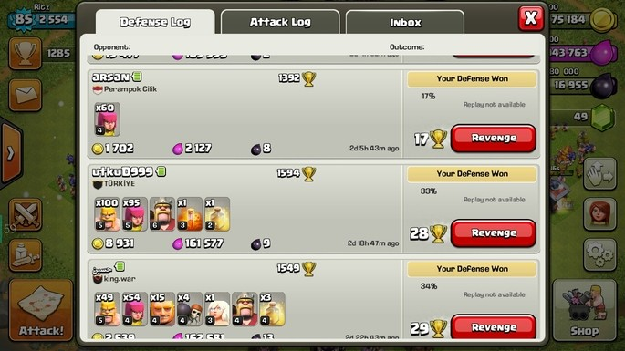 Defense log Clash of Clans