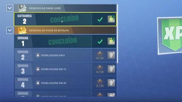 Desafios semanais Fortnite