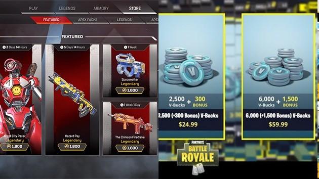 Dinheiro - Apex Legends vs Fornite