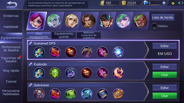 equipamentos - mobile legends