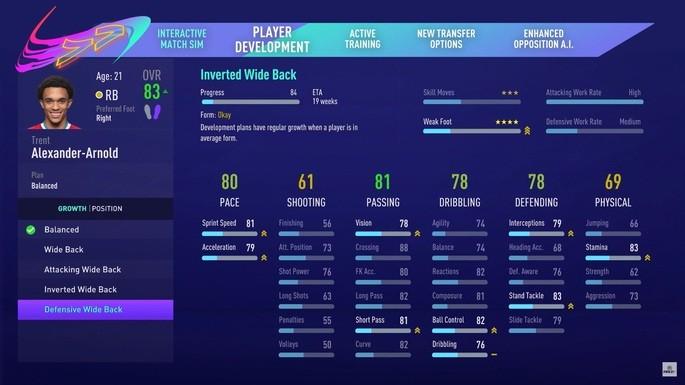 fifa 21 mudança posições jogadores