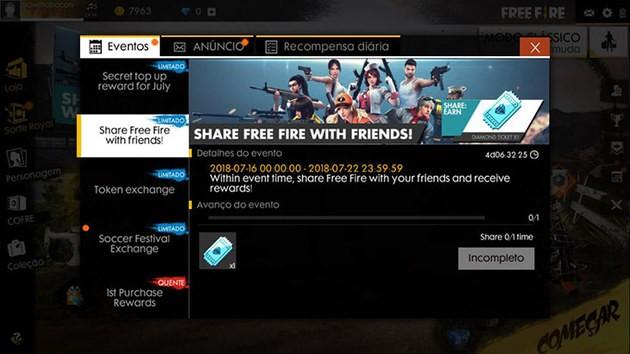 Compartilhar Free Fire com Amigos