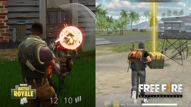 Jogabilidade Free Fire Vs Fortnite