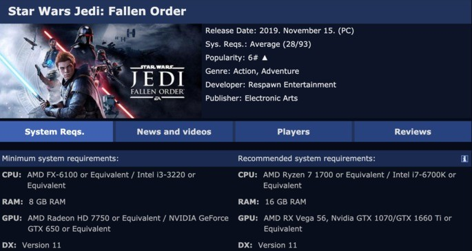 Ejemplo Game System Requirements