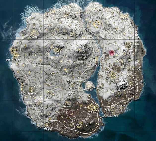 localizacao caverna mapa geral Vikendi