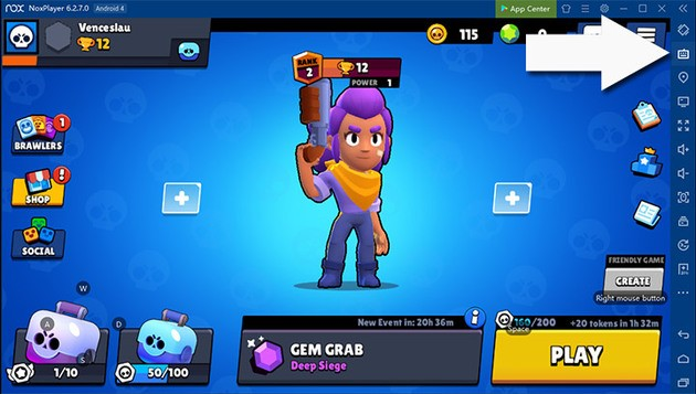 Menu Controles brawl stars nox