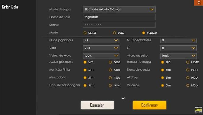 menu sala personalizada free fire