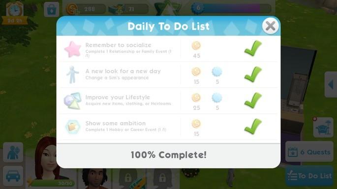 The Sims Mobile Missões Diárias