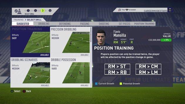 treinamento no modo carreira de jogador do fifa 19