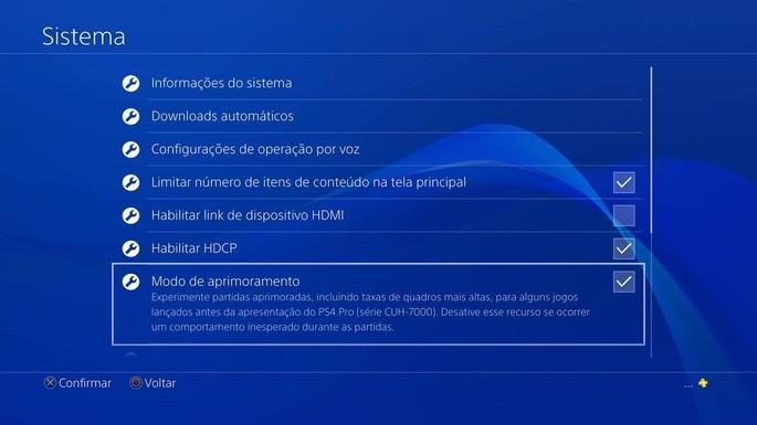 Modo Aprimoramento - PS4 Pro