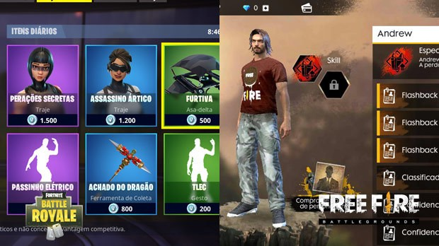 Personagem Free Fire Vs Fortnite