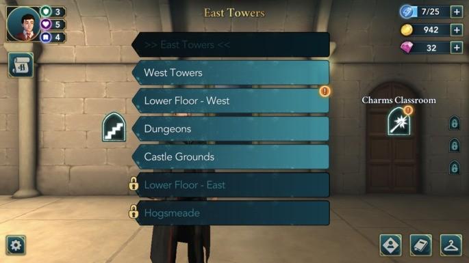 Pontos de interesse e de energia Hogwarts Mystery