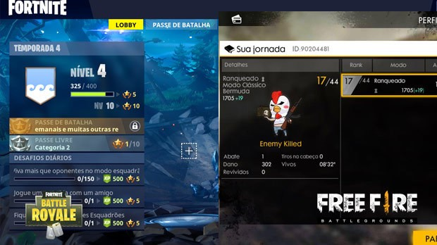 Ranqueado Free Fire vs Fortnite