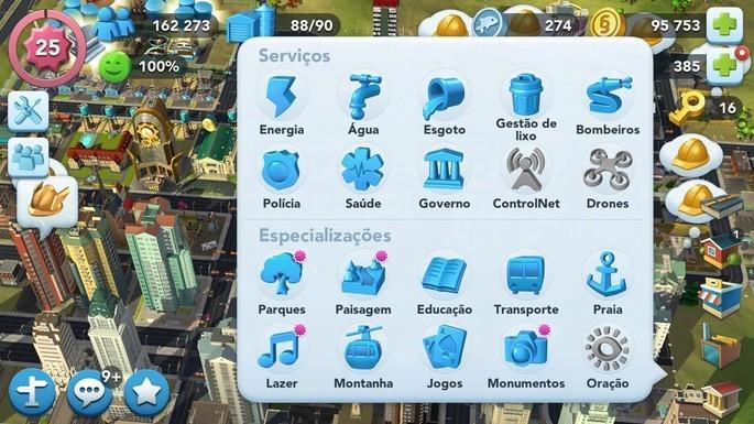 Serviços públicos SimCity BuildIt