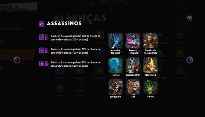 Sinergias - Dota Underlords