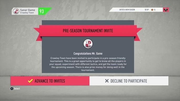 Torneio de pré-temporada FIFA 20 carreira