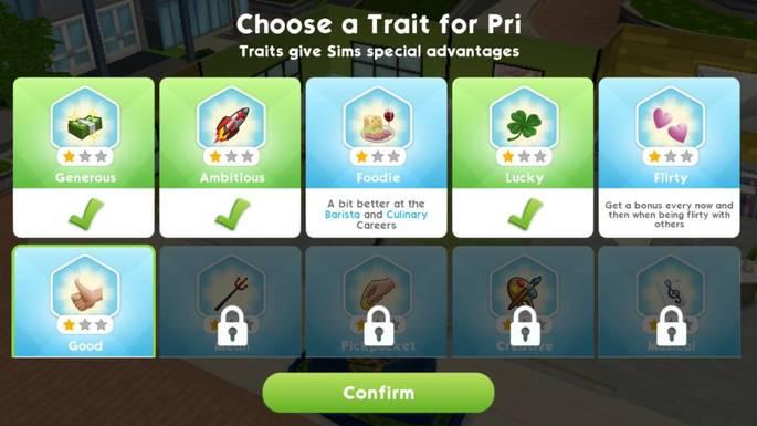 The Sims Mobile Traços de personalidade