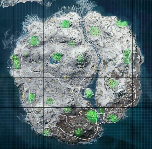 Mapa vikendi PUBG Zonas de Loot